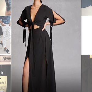 REVERSE Cut out black maxi dress, tie crop top